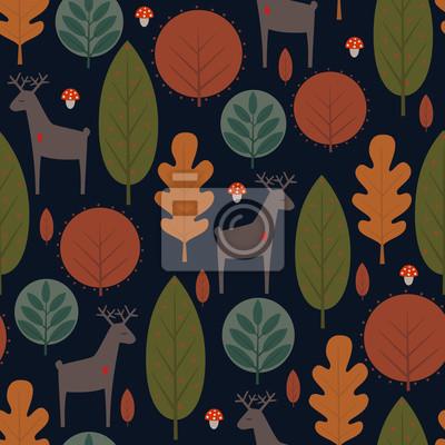 Fototapete Herbst Bäume und Rehe nahtlose Muster auf dunkelblauem Hintergrund. Dekorative Wald-Vektor-Illustration. Nette Natur Hintergrund. Skandinavischen Stil Design für Textilien, Tapeten, Stoff, Dekor.