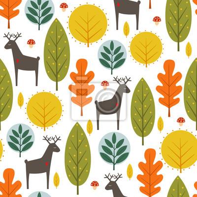 Fototapete Herbst Bäume und Rehe nahtlose Muster auf weißem Hintergrund. Dekorative Wald-Vektor-Illustration. Cute wilde Tiere Natur Hintergrund. Skandinavischen Stil Design für Textilien, Tapeten, Stoff, Dekor.