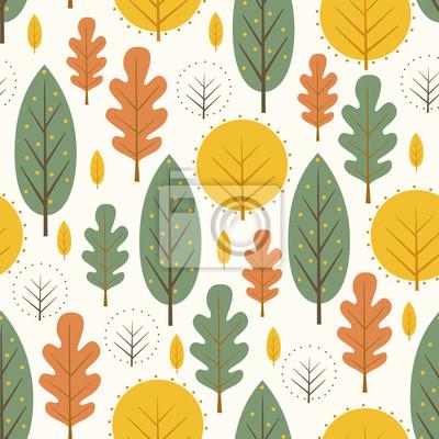Fototapete Herbst Blätter nahtlose Muster auf weißem Hintergrund. Dekorative Bäume Vektor-Illustration. Netter Waldhintergrund. Skandinavischen Stil Design für Textilien, Tapeten, Stoff, Dekor.