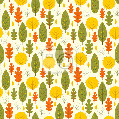 Fototapete Herbst Blätter nahtlose Muster. Dekorative Bäume Vektor-Illustration. Netter Waldhintergrund. Skandinavischen Stil Design für Textilien, Tapeten, Stoff, Dekor.
