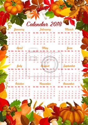 Herbst Ernte Fallen Vektor 2018 Kalender Fototapete Fototapeten