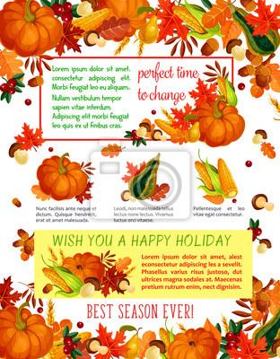 Herbst Ernte Feier Thanksgiving Poster Fototapete Fototapeten