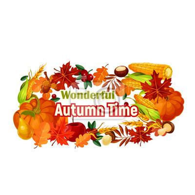 Herbst Ernte Plakat Von Vektor Kurbis Mais Blatt Fototapete