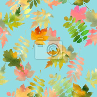 Herbst Hintergrund Aquarell Floral Nahtlose Muster Mit Herbst