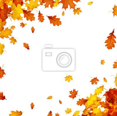 Herbst Hintergrund Mit Orange Blatter Fototapete Fototapeten