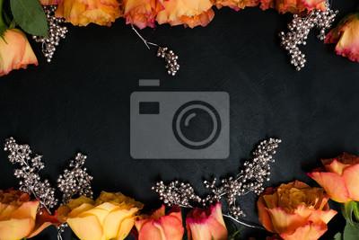 Herbst Hochzeit Blumen Dekor Orange Rosen Mit Silberner Verzierung