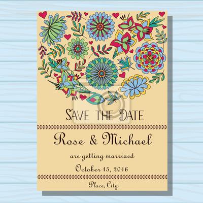 Fototapete Herbst Hochzeit Einladung Auf Holzuntergrund
