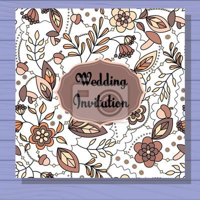 Fototapete Herbst Hochzeit Einladung Braun Auf Holzuntergrund