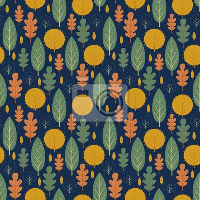Fototapete Herbst nahtlose Muster auf dunkelblauem Hintergrund. Dekorative Blätter Vektor-Illustration. Netter Waldhintergrund mit Bäumen. Skandinavischen Stil Natur-Design für Textilien, Tapeten, Stoff, Dekor.