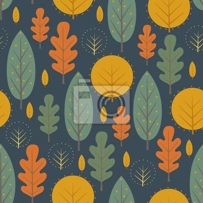 Fototapete Herbst Natur nahtlose Muster auf dunkelblauem Hintergrund. Dekorative Blätter Vektor-Illustration. Netter Waldhintergrund mit Bäumen. Skandinavischen Stil Design für Textilien, Tapeten, Stoff, Dekor.