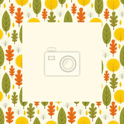 Fototapete Herbst-Rahmen mit colorfrul Blätter. Saisonale Waldgestaltung. Nette Natur-Karte mit Platz für Text.