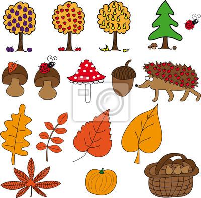 Herbst Set Mit Pilzen Obst Igel Blatter Kurbis Und Eichel