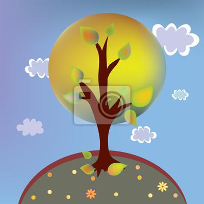 Herbst Tree-Landschaft mit Wolken Cartoon