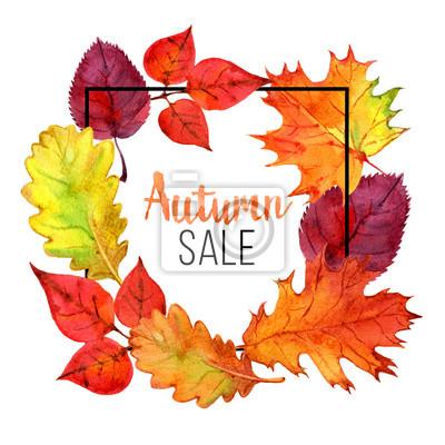 Herbst Verkauf Vorlage Mit Schriftzug Herbstblätter Verkauf