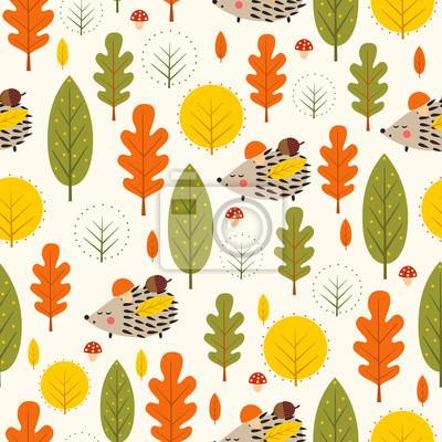 Fototapete Herbst Wald Hintergrund. Igel und dekorative Blätter nahtlose Muster. Baby-Igel mit Bäumen Vektor-Illustration. Natur-Design für Textilien, Tapeten, Stoffe.