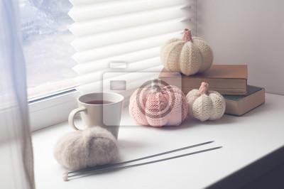 Herbst Zusammensetzung Gestrickte Dekor Kürbisse Garn Und Nadel