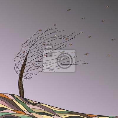 Herbstlandschaft mit Baum und fallenden Blättern