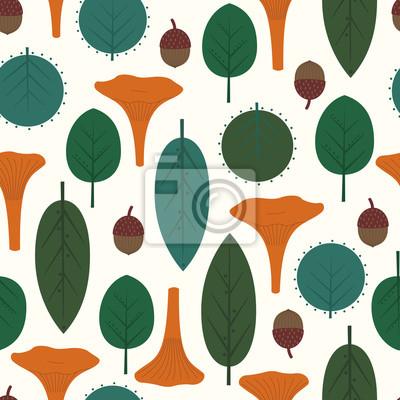 Fototapete Herbstlaub-Muster mit Pfifferlingen. Nahtlose dekorative Muster mit Blättern, Pilzen und Eicheln auf weißem Hintergrund. Trendy Wald Abbildung. Design für Textilien, Tapeten, Stoffe.