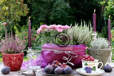 Herbstliche Tischdekoration herbstliche tischdekoration in silber und lila fototapete