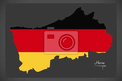 Herne Karte.Fototapete Herne Karte Mit Deutscher Flagge Abbildung