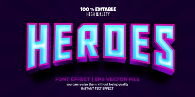 Fototapete Heroes editable font vector text style template