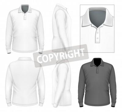 Herren langarm-polo-shirt design-vorlage (vorderansicht, rückansicht ...