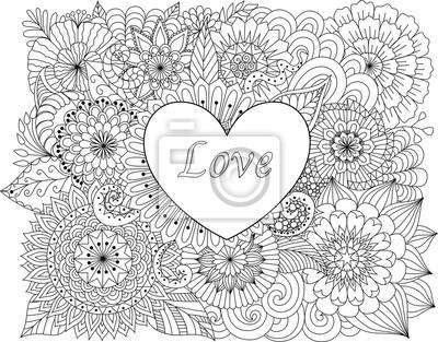 Herz auf blumen für färbung bücher für erwachsene oder valentines ...