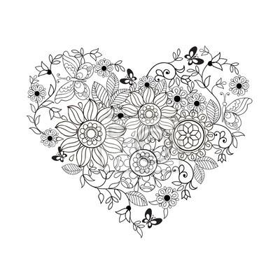 Herz aus blumen und schmetterlingen zum färben von büchern für ...