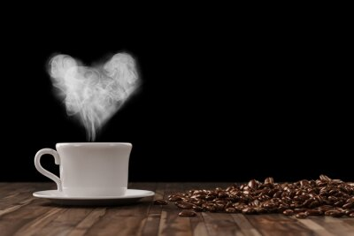 Fototapete Herz aus Dampf über Tasse Kaffee