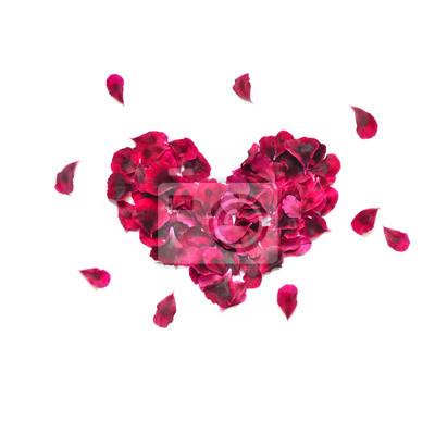 Herz aus rosenblättern. rotes herz der rosafarbenen blumenblätter ...
