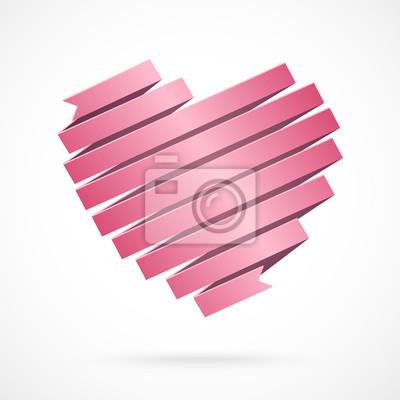 Herz Aus Roten Papier Band Gemacht Origami Stil Fototapete
