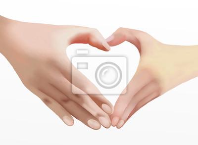 Herz Der Liebe Zwei Hande Machen Herzform Fototapete Fototapeten