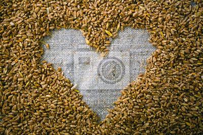 Herz des Weizenkorns auf der Gewebe