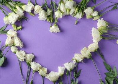 Herz gemacht von den schönen Blumen auf Farbhintergrund