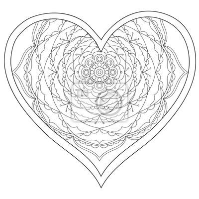 Herz, liebe kreisförmige mandala für erwachsene. malbuch seite ...