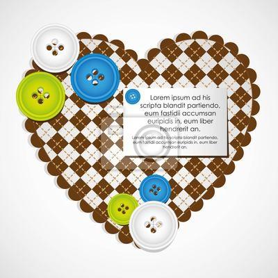 Herz mit Kleidung Buttons