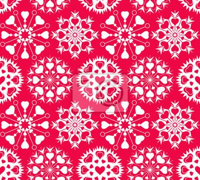 Herz Schneeflocke Nahtlose Muster Weihnachten Valentine