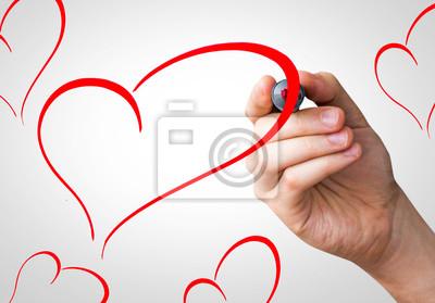 Herzen Form Handschrift mit einer roten Markierung