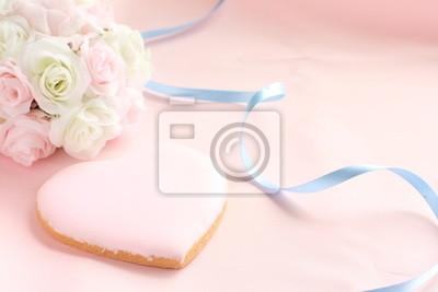Herzform Cookie Und Hochzeitsstrauss Fototapete Fototapeten