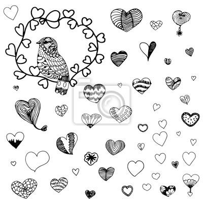 Herzform muster und zentangle vogel in schwarzen linie doodle ...