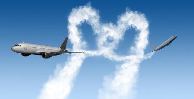Fototapete Herzform Tracks von Flugzeugen auf blau