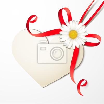 Herzförmige karte mit roter schleife und margerite fototapete ...