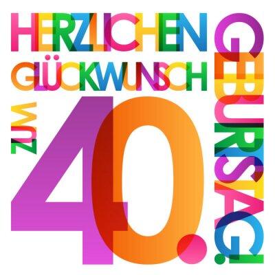 Herzlichen Glückwunsch Zum 40 Geburtstag Karte Fototapete