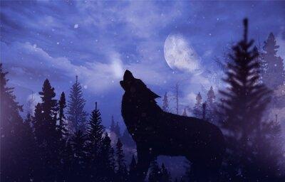 Fototapete Heulender Wolf in der Wildnis