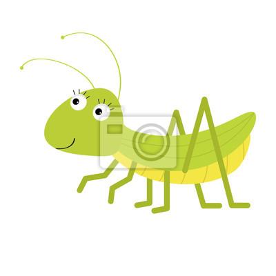 Heuschrecke. Nette Zeichentrickfilm-Figur. Weißer Hintergrund. Isoliert. Baby Insekt Sammlung. Flaches Design.