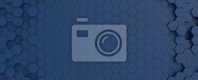 Fototapete Hexagonal dark blue navy background texture placeholder, 3d illustration, 3d rendering backdrop