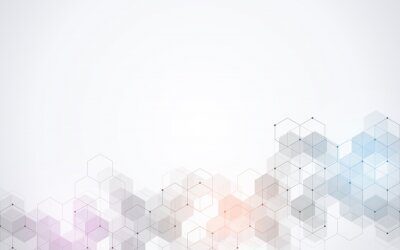 Fototapete Hexagons pattern. Geometric abstract background with simple hexagonal elements. Medical, technology or science design.