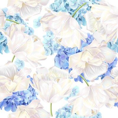 Fototapete Hidrangea Tulpe blaues Muster