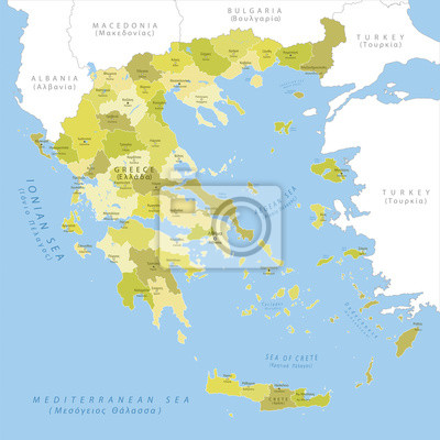 Fototapete: Highly detailed map of greece, vector.
