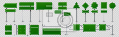 Fototapete Highway signs. Green pointers on the road, traffic control signs and road direction signboards. Vector illustration information empty roadside signs set on transparent background
